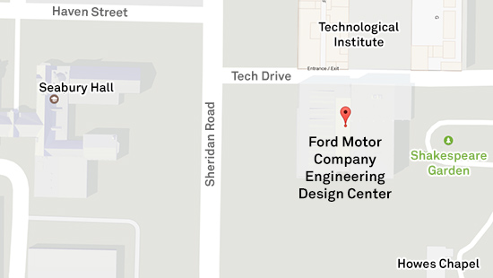 Map of Ford on Evanston campus