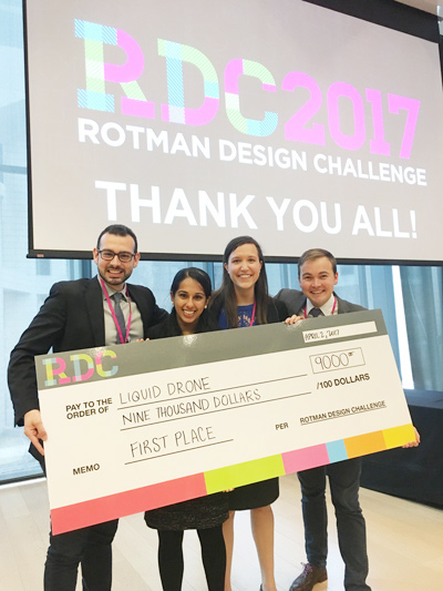 The winning MMM team (left to right): Nick Anastasiades, Natasha Singh, Claire Henderson, and Michael Perry