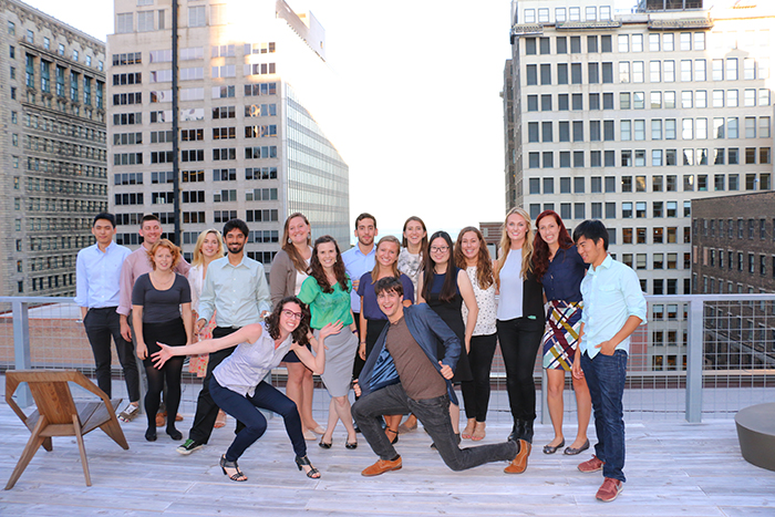 Following the IA Collaborative portfolio workshop, students enjoy refreshments on IA Collaborative's rooftop in downtown Chicago.
