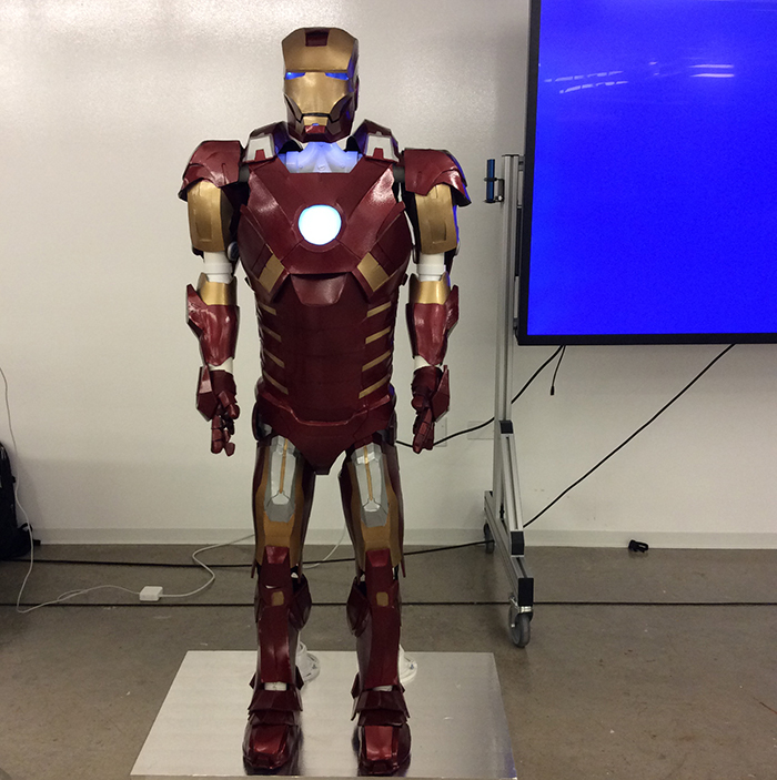 Segal Design Certificate student Joshua Kim shows off his Ironman costume he designed.
