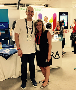 MIRA CEO and MMM alumnus Rob Demento and Segal's communications coordinator Emily Weinstein at techweek.