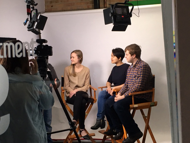 Stacy Klingbeil, DFA, Allison Chen, DFA, and Donovan Morrison, Luna Lights, filming Big Shoulders.