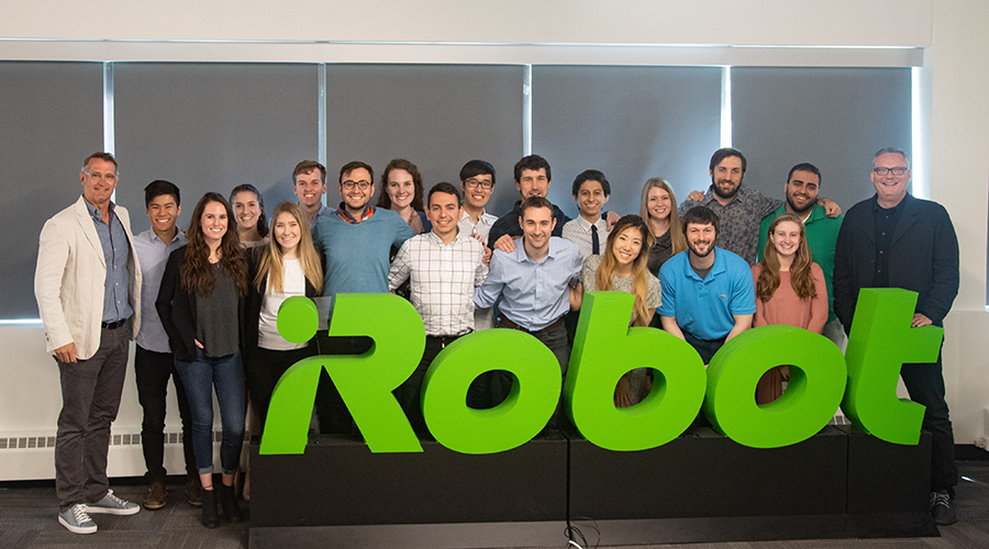EDI students and faculty members at iRobot headquarters.