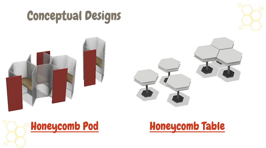 Honeycomb consists of two complementary furniture designs: the Study Pod and the Table.